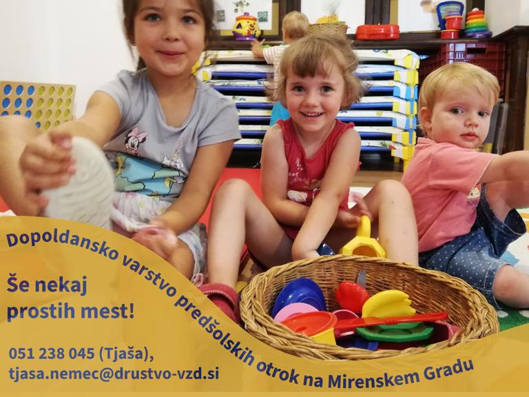 Dopoldansko varstvo predšolskih otrok - Še nekaj prostih mest!